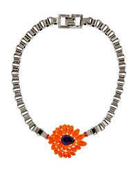 Mawi | Metallic Hematiteplated Crystal Flower Necklace | Lyst