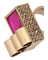 Mawi - Metallic Goldplated Swarovski Crystal Ring - Lyst