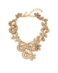 Oscar de la Renta | Metallic Cast Lace Necklace | Lyst