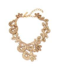Oscar de la Renta - Metallic Cast Lace Necklace - Lyst