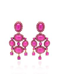 Oscar de la Renta - Shocking Pink Iconic Opaque Cabochon Drop Earring - Lyst