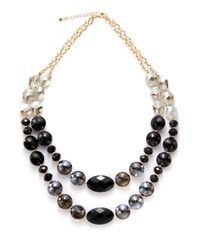 Saks Fifth Avenue | Black Twostrand Faceted Bead Necklace | Lyst