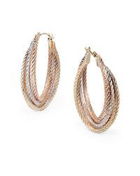 Saks Fifth Avenue - Metallic 14k White Pink Yellow Gold Oval Loop Earrings - Lyst