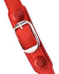 Balenciaga | Red Rubber Stud Wrap-Around Leather Bracelet | Lyst