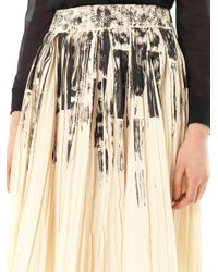 Bottega Veneta - Natural Colour Block On Light Print Pleat Skirt - Lyst