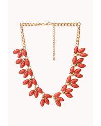 Forever 21 - Orange Floral Fantasy Bib Necklace - Lyst