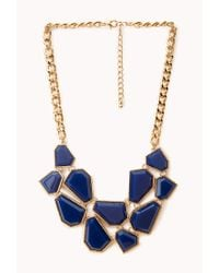 Forever 21 | Blue Faceted Faux Stone Bib Necklace | Lyst