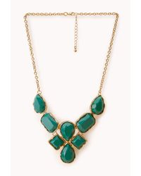 Forever 21 - Metallic Striking Faux Stone Bib Necklace - Lyst