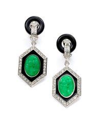 Kenneth Jay Lane - Green Jade Crystal Deco Drop Earrings - Lyst