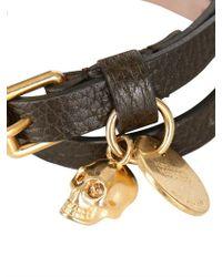 Alexander McQueen | Metallic Double Wrap Skull Pendant Leather for Men | Lyst