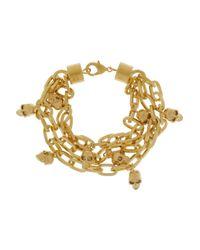 Alexander McQueen | Metallic Goldtone Swarovski Crystal Skull Charm Bracelet | Lyst