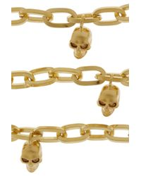 Alexander McQueen - Metallic Goldtone Swarovski Crystal Skull Charm Bracelet - Lyst