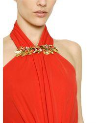 Alexander McQueen - Embroidered Viscose Jersey Long Dress - Lyst
