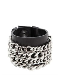 Balmain | Black Metal Chains Leather Bracelet for Men | Lyst
