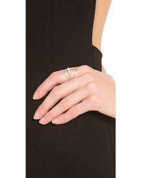 Campbell - Metallic Diamond Shield Ring - Lyst