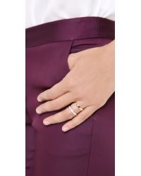 Campbell - Metallic Double Stack Ring with Diamonds - Lyst