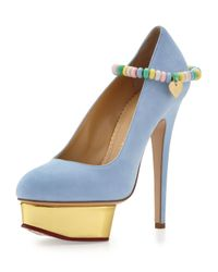 Charlotte Olympia - Blue Sweet Dolly Pump with Candy Anklet - Lyst