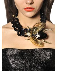 DSquared² Black Jeweled Beetle Necklace
