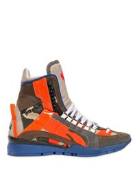 DSquared² - Green Camouflage Leather High Top Sneakers for Men - Lyst