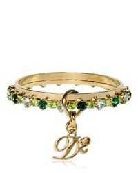 DSquared² - Green Swarovski Brass Double Bangle Bracelet - Lyst