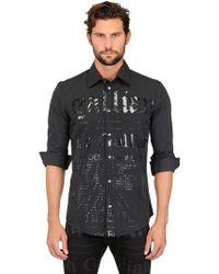 John Galliano - Black Cotton Poplin Gazette Print Shirt for Men - Lyst