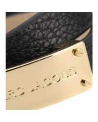 Marc By Marc Jacobs | Black New Plaque Double Wrap Leather Bracelet | Lyst
