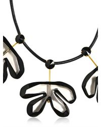 Marni - Black Resin Leather Flower Necklace - Lyst