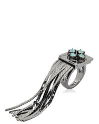 Mawi - Blue Deco Glam Fringe Ring - Lyst
