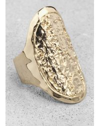 & Other Stories - Metallic Wood-Effect Ring - Lyst