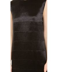 T By Alexander Wang - Black Drape Shiny Stripe Panel Dress - Lyst