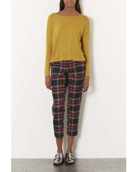 TOPSHOP - Yellow Long Sleeve Crepe Top - Lyst