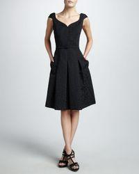 David Meister | Portraitneck Textured Dress Black | Lyst