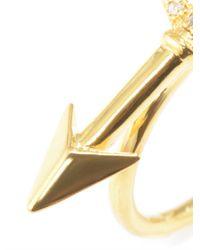 Jade Jagger - Metallic White Diamond Goldplated Arrow Ring - Lyst