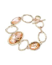 Jones New York - Metallic Gold-tone Oval Stone Toggle Bracelet - Lyst