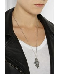 Pamela Love - Metallic Shield Silver Moonstone Pendant Necklace - Lyst