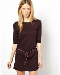 Sessun - Brown Zanzi Dress in Jersey with Leather Belt - Lyst