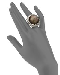 Stephen Webster - Brown Black Motherofpearl Clear Quartz Sterling Silver Ring - Lyst
