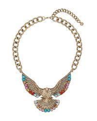 TOPSHOP - Metallic Eagle Stone Necklace - Lyst