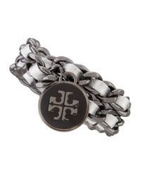 Tory Burch - Metallic Leather Chain Bracelet Silver - Lyst