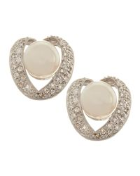 Belpearl | 14k White Gold Diamondribbon Pearl Clip Earrings | Lyst