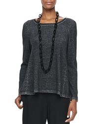 Eileen Fisher - Gray Plaited Highlow Tunic - Lyst