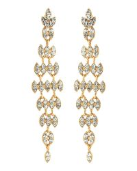 Fragments - Metallic Rhinestone Long Leaf Earrings Golden - Lyst
