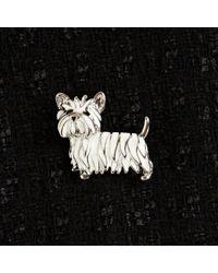John Lewis - White Scottie Dog Enamel Brooch - Lyst