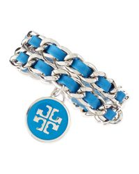Tory Burch | Leather Woven Chain Bracelet Bluesilvertone | Lyst