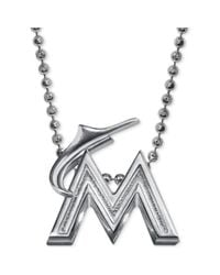 Alex Woo - Metallic Mlb Collection By Sterling Silver Miami Marlins Pendant Necklace - Lyst