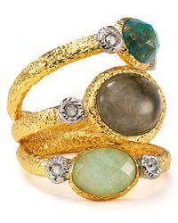 Alexis Bittar | Metallic Amazonite Labradorite Chrysocolla Stacking Ring | Lyst