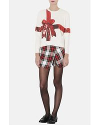Topshop | Beige Present Sequin Ribbon Sweater | Lyst