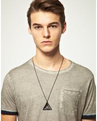 ASOS | Black Asos Geo Triangle Pendant Necklace for Men | Lyst
