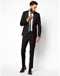 ASOS - Black Skinny Fit Suit Jacket with Tipping for Men - Lyst