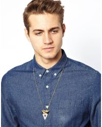 ASOS - Metallic Necklace With Cutout Triangle for Men - Lyst